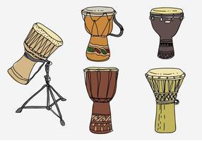 Ilustração vetorial desenhada mão Djembe tradicional vetor