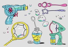 Colorful Bubble Blower Tools Doodle Ilustração vetorial vetor