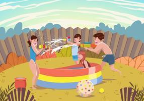 Crianças de verão brincando com vetor de armas de água