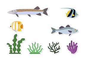 Vetores do ambiente do mar plano