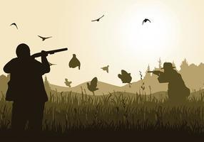 Quail bird hunting silhouette vector grátis