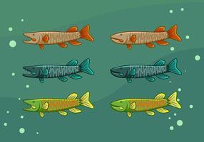 vetores de peixe de muskie icônicos gratuitos