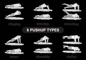 6 Tipos Pushup vetor