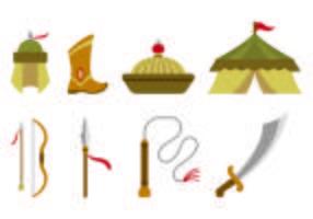 conjunto de ícones de equipamentos guerreiros mongol vetor
