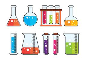 Conjunto de frasco químico vetor