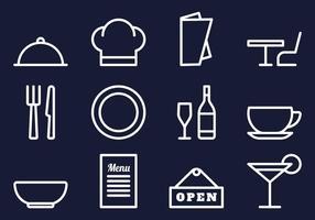 Conjunto de ícones de restaurante vetor