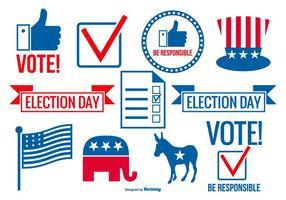Coleção de elementos vetoriais do dia de votação