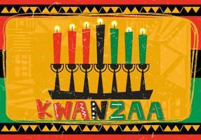 Kwanzaa feliz com vela de Kwanzaa vetor
