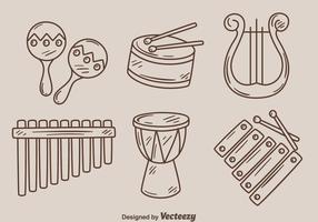 Esboço de instrumento de musica vetor
