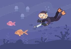 Homem Caçando Peixes Com Speargun vetor