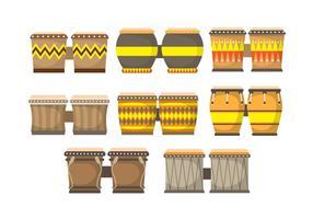 Conjunto de ícones de Bongo vetor