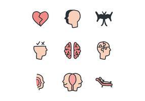 Ícones coloridos dos psicólogos vetor