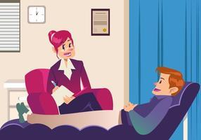Paciente falando com psicólogo vetor
