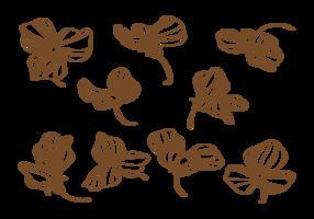 Flores desenhadas à mão de ervilhas vetor