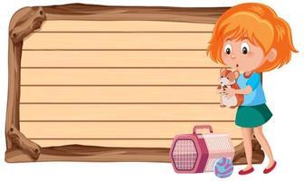 banner vazio com uma garota segurando um hamster no fundo branco vetor