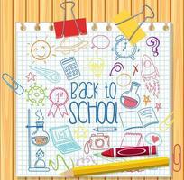 conjunto de elemento escolar doodle no papel vetor