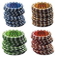conjunto de coluna de fichas de pôquer isolado no fundo branco