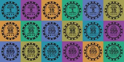 fichas de pôquer definidas de preto na cor