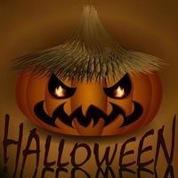 abóbora malvada de halloween com chapéu de palha vetor