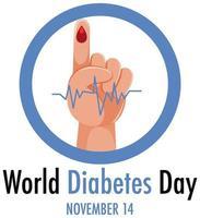 logotipo do dia mundial do diabetes ou banner com sangue no dedo vetor