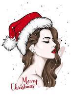 linda garota com um chapéu de Papai Noel vetor