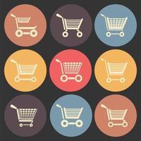 ícone plano do carrinho de compras definido em círculos de cores