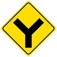 Sinal amarelo de cruzamento em fundo branco vetor