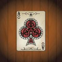 ás de clubes cartas de pôquer aparência antiga de madeira envernizada