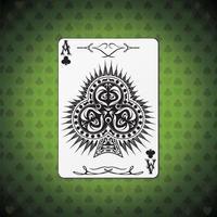 ás de clubes poker card fundo verde