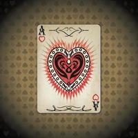 ás corações, cartas de pôquer antigas parecem fundo vintage