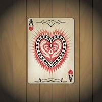 ás corações, cartas de pôquer aparência antiga