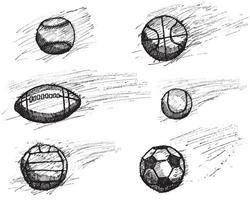 esboço de bola definido com sombra e efeito dinâmico