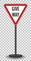 sinal de trânsito vermelho em fundo transparente