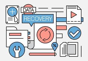 Ícones de recuperação de dados lineares vetor