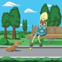 garota de desenho animado no parque sentada no banco
