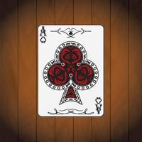 ás de clubes cartão de pôquer fundo de madeira envernizada