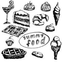 conjunto de sobremesas alimentares esboço desenhado à mão na lousa vetor