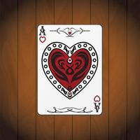 ás corações, cartão de pôquer fundo de madeira envernizada