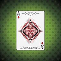ás de diamantes, fundo verde de cartas de pôquer