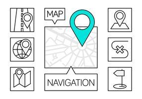 Ícones de navegação linear gratuitos vetor