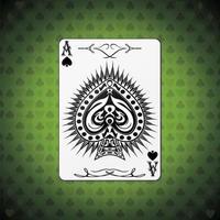 ás de espadas, fundo verde das cartas de pôquer