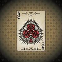ás de clubes cartas de pôquer antigo look vintage fundo
