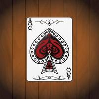 ás de espadas, cartas de pôquer, fundo de madeira envernizada