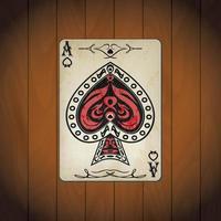 ás de espadas, cartas de pôquer com fundo de madeira