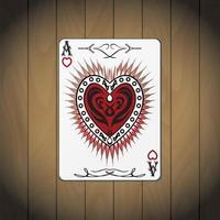 ás corações, cartão de pôquer fundo de madeira