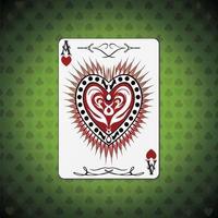 ás corações, fundo verde das cartas de pôquer