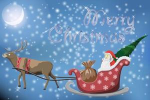 cartão postal de feliz natal com papai noel voador