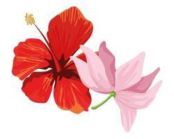 desenho de hibisco e flores de lótus vetor