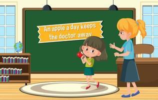 pôster idiomático com uma maçã por dia mantém o médico longe vetor