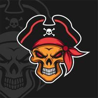 desenho do mascote dos piratas do crânio vetor